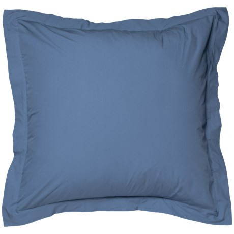 Coyuchi French Blue Organic Percale Pillow Sham - Euro, 220 TC in French Blue