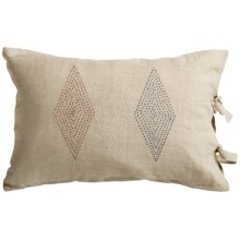 "Coyuchi French Knot Diamond Decor Pillow - 16x24"", Linen in Natural/Pattern Red/Indigo/White - Closeouts"