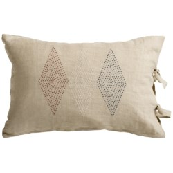 "Coyuchi French Knot Diamond Decor Pillow - 16x24"", Linen in Natural/Pattern Red/Indigo/White"