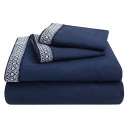 Coyuchi Henna Percale Flat Sheet - King, 300 TC Organic Cotton in Indigo W/White