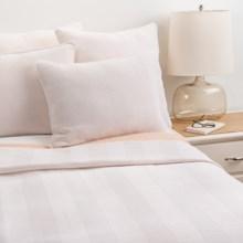 Coyuchi Herringbone Matelasse Coverlet - King, Organic Cotton in White/Tangerine - Closeouts