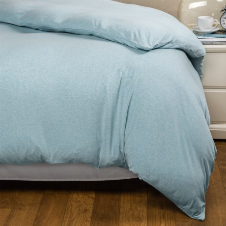 Coyuchi Jersey Heather Duvet Cover - Twin, Organic Cotton in Blue Heather