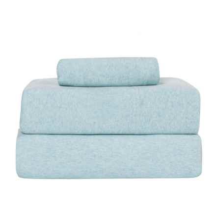 Coyuchi Jersey Heather Sheet Set - Organic Cotton, Twin in Blue Heather - Closeouts