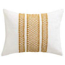 Coyuchi Labyrinth Embroidered Pillow Sham - Boudoir, Linen, Organic Cotton in White W/Mustard - Closeouts