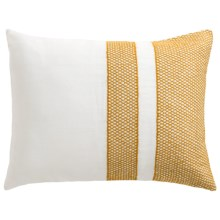 Coyuchi Labyrinth Embroidered Pillow Sham - King, Organic Cotton-Linen in White W/Mustard - Closeouts