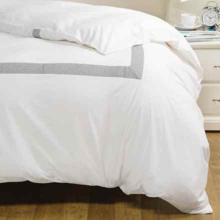 Coyuchi Lattice-Embroidered Duvet Cover - King, Organic Cotton in Alpine White/Mid Gray - Closeouts