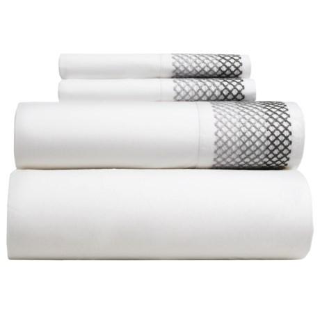 Coyuchi Lattice-Embroidered Sheet Set - Full-Queen, Organic Cotton