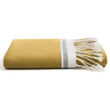 Coyuchi Mediterranean Fringed Bath Sheet - Organic Cotton in Mustard/Gray Stripe - Closeouts
