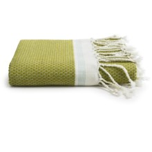 Coyuchi Mediterranean Fringed Bath Towel - Organic Cotton in Green Tea/Aqua Stripe - Closeouts