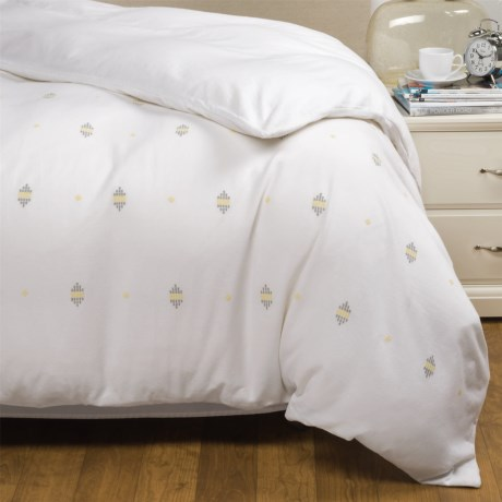 Coyuchi Morro Rock Embroidered Duvet Cover - Organic Cotton, Full-Queen in Alpine White/Gray/Yellow