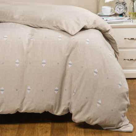 Coyuchi Morro Rock Embroidered Duvet Cover - Organic Cotton, Full-Queen in Pale Toast/White/Blue - Closeouts