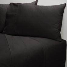 Coyuchi Organic Cotton Sateen Flat Sheet - King-California King, 300 TC in Almost Black - Closeouts