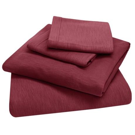 Coyuchi Organic Cotton Slub Jersey Bedding Set - 4-Piece,Twin XL in Slub Mulberry