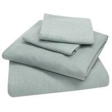 Coyuchi Organic Cotton Slub Jersey Bedding Set - 4-Piece,Twin XL in Slub Pale Dusty Aqua - Closeouts