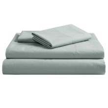 Coyuchi Pointelle Fitted Sheet - King, 300 TC Organic Cotton in Pale Dusty Aqua - Closeouts