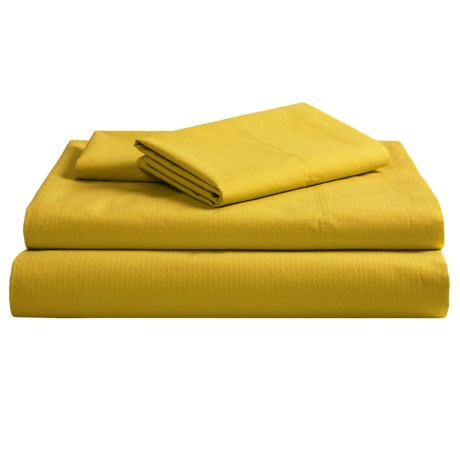 Coyuchi Pointelle Fitted Sheet - King, 300 TC Organic Cotton in Sunflower