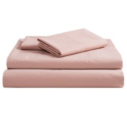 Coyuchi Pointelle Fitted Sheet - King, 300 TC Organic Cotton in Washed Rose