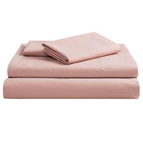 Coyuchi Pointelle Fitted Sheet - King, 300 TC Organic Cotton in Pale Dusty Aqua