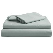 Coyuchi Pointelle Flat Sheet - King, 300 TC Organic Cotton in Pale Dusty Aqua - Closeouts