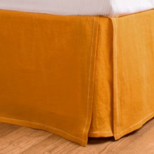 Coyuchi Relaxed Tailored Linen Bed Skirt - Queen in Sunwashed Tangerine - Closeouts