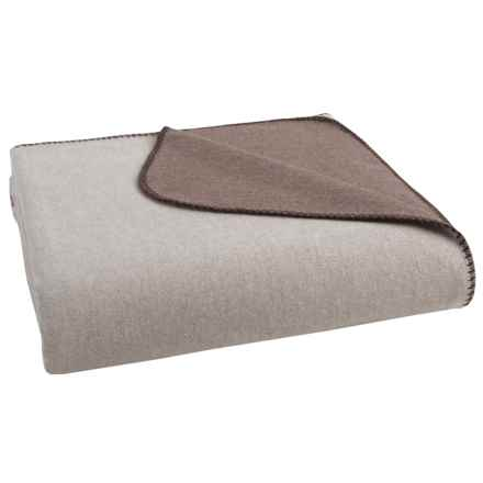 Coyuchi Reversible Cloud-Brushed Flannel Blanket - King, Organic Cotton in Heather Brown/Tan - Overstock