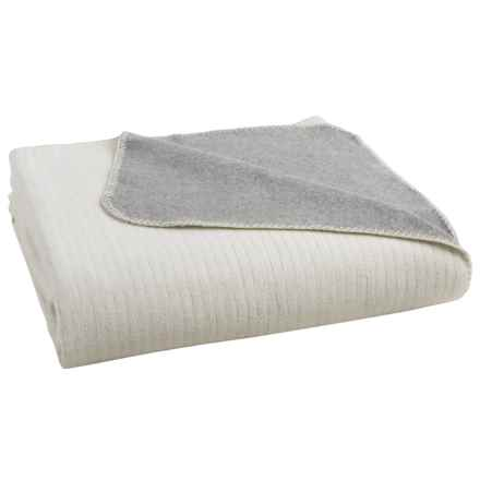 Coyuchi Reversible Cloud-Brushed Flannel Blanket - King, Organic Cotton in Heather Gray/Natural - Overstock
