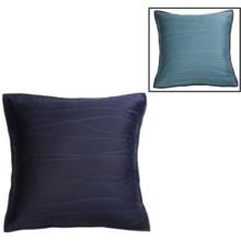 Coyuchi Reversible Wave Sateen Pillow Sham - Euro, Reversible, 300 TC Organic Cotton in Dark Indigo W/Cerulean - Closeouts