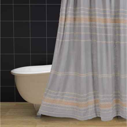 "Coyuchi Rippled Stripe Shower Curtain - 72x72"", Organic Cotton in Pewter / Mustard - Overstock"