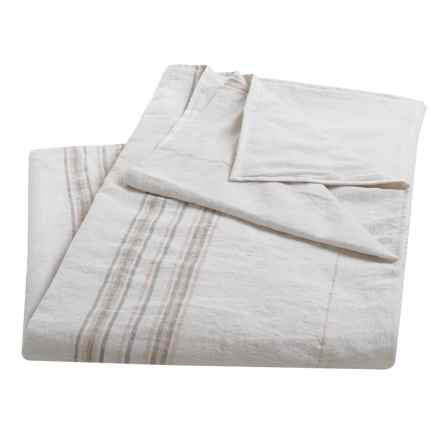 Coyuchi Rustic Linen Blanket - Twin in Alpine White/Pewter/Camellia - Closeouts