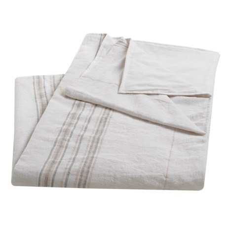 Coyuchi Rustic Linen Blanket - Twin in Alpine White/Pewter/Camellia