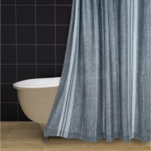 Coyuchi Rustic Linen Shower Curtain in Midnight/Deep Dusty Aqua/Alpine White - Closeouts
