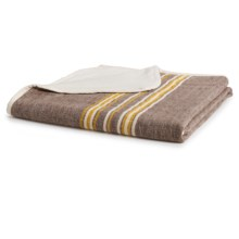 Coyuchi Rustic Linen Throw Blanket in Toast With Mustard-Ivory - Closeouts