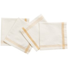 Coyuchi Simple Stitch Chambray Napkins - Organic Cotton-Linen, Set of 4 in White/Tangerine - Closeouts