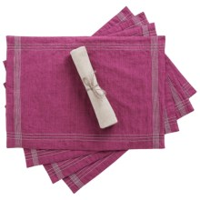Coyuchi Simple Stitch Chambray Placemats - Organic Cotton-Linen, Set of 4 in Orchid / Pewter - Closeouts