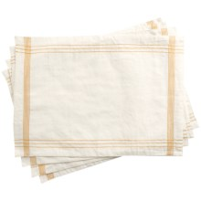 Coyuchi Simple Stitch Chambray Placemats - Organic Cotton-Linen, Set of 4 in White/Tangerine - Closeouts