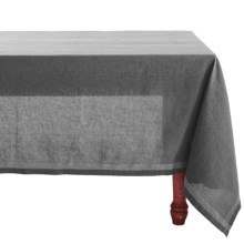 "Coyuchi Simple Stitch Chambray Tablecloth - 70x108"", Organic Cotton-Linen in Charcoal/White - Closeouts"