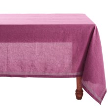 "Coyuchi Simple Stitch Chambray Tablecloth - 70x108"", Organic Cotton-Linen in Orchid / Pewter - Closeouts"