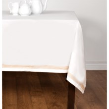 "Coyuchi Simple Stitch Chambray Tablecloth - 70x108"", Organic Cotton-Linen in White/Tangerine - Closeouts"