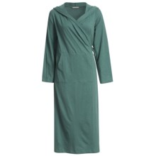 Coyuchi Slub Jersey Cotton Hooded Robe - Long Sleeve (For Women) in Dusty Aqua - Closeouts
