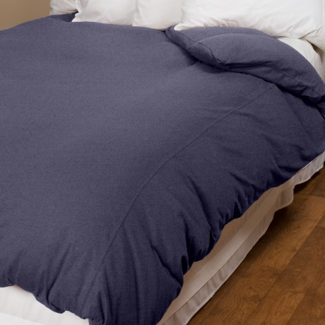 Coyuchi Slub Jersey Organic Cotton Duvet Cover - Full-Queen in Heather Melange