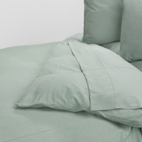 Coyuchi Slub Jersey Organic Cotton Duvet Cover - Full-Queen in Slub Pale Dusty Aqua