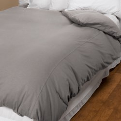 Coyuchi Slub Jersey Organic Cotton Duvet Cover - Twin in Graphite Slub
