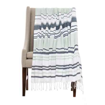 Coyuchi Sutro Stripe Coverlet Throw Blanket - Organic Cotton in Multi - Closeouts