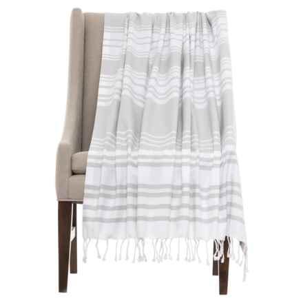 Coyuchi Sutro Stripe Coverlet Throw Blanket - Organic Cotton in Pewter - Closeouts