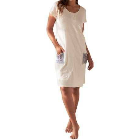 Coyuchi Verbena Embroidered Nightgown Short Sleeve (For Women)