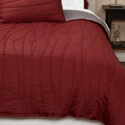 Coyuchi Wave Sateen Quilt - Full-Queen, Reversible, 300 TC Organic Cotton in Brick W/Mid Gray