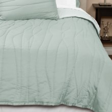 Coyuchi Wave Sateen Quilt - Full-Queen, Reversible, 300 TC Organic Cotton in Pale Aqua/Pale Gray - Closeouts
