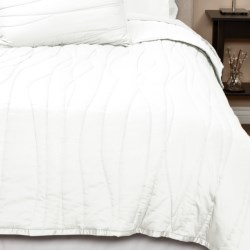 Coyuchi Wave Sateen Quilt - Twin, Reversible, 300 TC Organic Cotton in White/Ivory