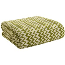 Coyuchi Zigzag Matelasse Coverlet - Full/Queen, Organic Cotton in Ivory / Deep Green - Closeouts