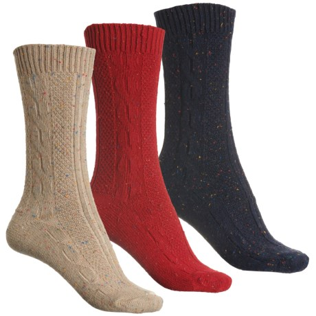 Cozy Cable-Knit Boot Socks - Merino Wool, 3-Pack, Crew (For Women) - IVORY/RED/NAVY (M ) -  WISE BLEND